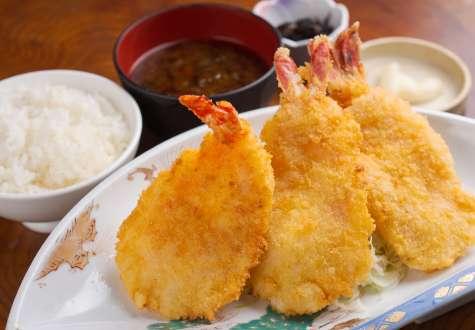 Deep-fried shrimp set